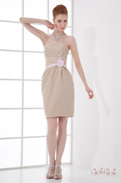 Wholesale Champagne Colored Knee Length Dress - Elegant Sheath Column Sweetheart Flowers Colored Taffeta Homecoming Dress Knee Length Sleeveless Zip-up Cocktail Dress Prom Gowns