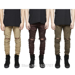 Wholesale Khaki Pants For Men Stretch - Wholesale-30-36 mens designer clothes green olive pants stretch khaki mens moto rock denim distressed skinny ripped jeans for men
