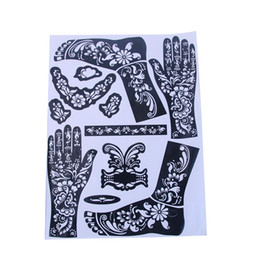 Wholesale Tattooing Kits For Sale - Wholesale- Hot Sale Women DIY India Henna Temporary Tattoo Stencils For Hand Leg Arm Feet Body Art Decal 28.5*38cm