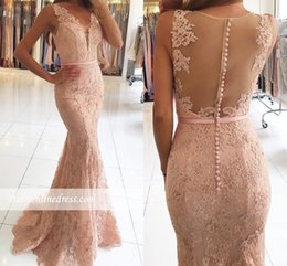 Wholesale Lace See Prom Dresses - See-Through Back Lace Beaded Mermaid Prom Dresses 2017 Vestido De Festa Sleeveless V Neck Formal Evening Pink Party Dresses Free Shipping
