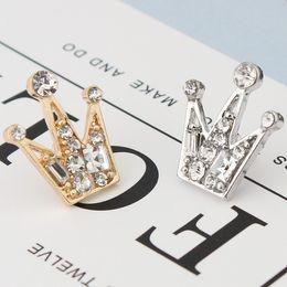Wholesale Crown Jacket - Full diamond crystal mini Unisex small crown Brooch retro suit shirt jacket lapel pin wholesale free shipping