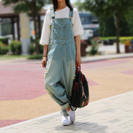 Wholesale Wide Leg Pants Trousers Jumpsuits - Casual Loose Plus Size Denim Overalls Women Ripped Jean Jumpsuit Boyfriend Wide Leg Jeans Harem Pants Trousers