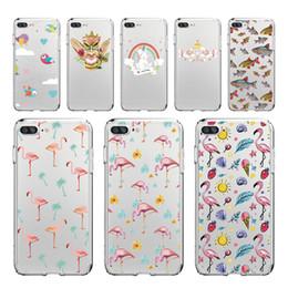 Wholesale Chinese Strawberries - Secret Unicorn Rainbow Flamingo Fish Strawberry Softphone Case for iPhone 5 6S 6Plus 7S Plus 8 8Plus X