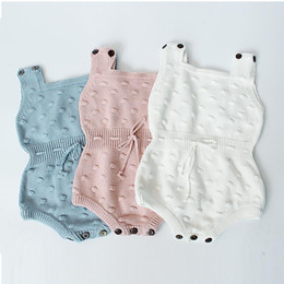 Wholesale One Piece Baby Winter - Baby Girls Crochet Rompers Kids Girls Sleeveless Wool Jumpsuit 2017 Autumn Infant Toddler One-piece Princess Romper Children Clothing B75