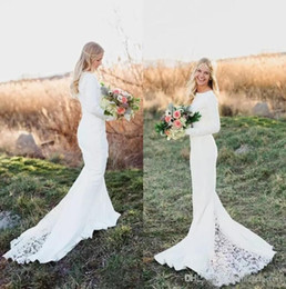 Wholesale Custom Fit Flare Dresses - Spring 2017 Bohemian Mermaid Wedding Dresses Jewel Neck Fit and Flare Court Train Long Sleeves White Summer Beach Bridal Gowns
