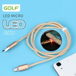 Wholesale Led Android Charger - Original Golf LED light Metal USB Braid Data Charge Cable Micro Charging Cord For Android Phone Samsung Fast Charger Cyberstore
