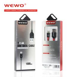 2019 melhor cabo usb para carregamento rápido WEWO USB Cabo De Carregamento De Nylon Trança Micro USB Tipo-C Apple Port Safe 1 M 2.4A USB Cabos de Carga Para Samsung