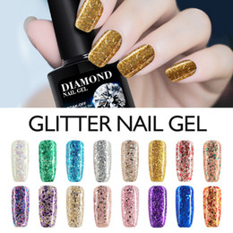 Wholesale Glitter Soak Off Gel Polish - Wholesale-Modelones 10ML 3D Diamond Glitter Nail Varnish Long Lasting Gel Polish UV LED Nail Gel Polish Soak-off Glod Color Nail Lacquers