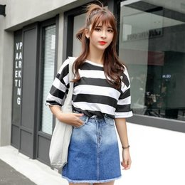 Wholesale Tall Shortest Skirt - Summer 2017 A Word Cowboy Burrs Korea Edition Thin Short Skirt of Tall Waist Bag Hip Jeans Skirts New Jeans Woman Skirts A-line Female Skirt