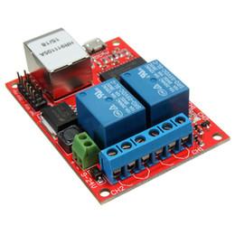Wholesale Web Kits - Freeshipping New Electronic kit Circuit Board LAN Ethernet 2-way Relay Board Delay Switch TCP UDP Controller Module WEB server Board 70X50mm