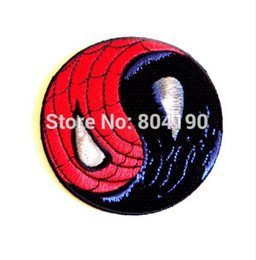 Wholesale Iron Applique Spiderman - Yin Yang Spiderman EMBROIDERED PATCH Marvel comics Biker Vest Uniform Movie Iron On Patch Custome TRANSFER MOTIF APPLIQUE