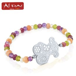 Wholesale Wholesale Crystal Bear Charms - Europe and the United States new fashion cute stainless steel bear chain bracelet, Crystal Bear Bracelet, hand ornaments