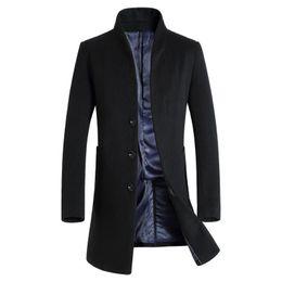 Wholesale Man Trench Coat Wool - Wholesale- Long Trench Coat Men Overcoat Winter Jacket Men 2016 Windbreaker Woolen Solid Black Trench Coat Men Wool English Style Costume