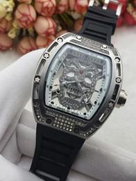 Wholesale Skull Watches For Men - 2018 Modern Men Luxury brand watch Rubber band Quartz Diamond watches Skull head wristwatches For men's Male Clock hu