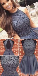 Wholesale Blue Collar Special - New Design Gray Short Homecoming Dresses 2017 Special Occasion Halter Open Back Beaded Crystals Sweet 16 Knee Length Prom Gowns For Junoirs
