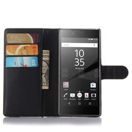 Teléfono sony xperia z3 compacto online-Caso para Sony xperia M2 Z3 Z4 M4 Z5 compacto de lujo Flip Stand billetera de cuero de la PU cubierta de la caja del teléfono Bolsas con ranuras para tarjetas