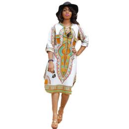 dessins de vêtements traditionnels Promotion Femmes traditionnelles africaines impression robe de soirée nouveau design Dashiki robe sexy robes occasionnelles taille plus