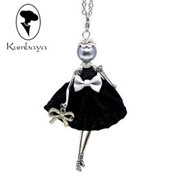 Wholesale Yarn Dolls - Hot Sale! Cute Yarn Cloth Bowknot Dress Dancing Doll Necklace Beads Face Women Jewelry stores Christmas Gifts Jewelry Statements NS059