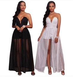 Wholesale Grid Floor - Party dress 2017 new Women grid Maxi dresses Fashion deep V Slim Mesh Suit-dress Summer Embroidered chiffon Beach Dresses