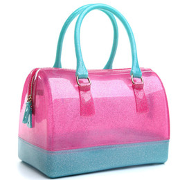 Wholesale Jelly Clutch Bags - 2017 new jelly candy pillow top handbag colorful bag woman bags free shipping