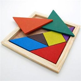 Wholesale Tangram Puzzle Jigsaw - Wholesale-1Pc New Children Mental Development Tangram Wooden Jigsaw Puzzle Educational Toys for Kids