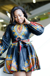 Wholesale Plus Size Womens Elegant Clothing - 2017 Elegant African Print Dashiki Dress Womens Casual Long Sleeves Dashiki Dresses Fashion Ladies Outfits Ball Gown Robe Clothes Plus Size