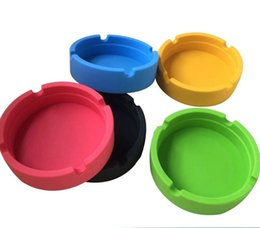 Wholesale silicone personalized - 6 color, noctilucent ,Personalized solid color ashtray,Soft Eco-Friendly Pocket Round Shatterproof Cigar Astray Rubber Silicone Ashtray