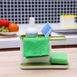 Wholesale Sink Brush Holder - Plastic Kitchen Storage Rack Holders Kichen Tidy Stand Sink Draining Brush Sponge Cleaning Cloth Kitchen Towel Rack Washing Holder