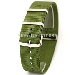 Wholesale Mens Nylon Watch Bands - Wholesale- Army Green 22mm Band Width Fabric Nylon Canvas Wrist Watch Band Strap Stainless Steel Buckle Sports Mens Womens