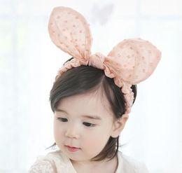 Wholesale Pink Hair Photos - Baby girls Rabbit Ears Elastic Headband Infant Halloween Birthday Toddler Headwear Hair band Accessories Easter Photo Prop