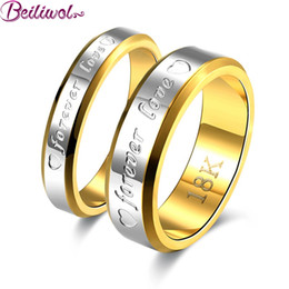 Wholesale Color Fade Ring - Wholesale- Wedding Couple Rings For Women & Men Engagement Stainless Steel Gold-color Forever Love Jewelry Fashion Ring Lover Gift No Fade