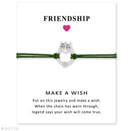 Wholesale Owl Friendship Bracelet - Wish Bracelet With Gift Card Owl Heart Charm Bracelets & Bangles for Women Girls Adjustable Friendship Statement Jewelry Greeting Card