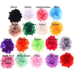 Wholesale Flowers For Clips - Wholesale- 18PCS Satin Flowers Baby Artificial Flowers for Headbands DIY Flower Hair Accessories No Hair Clip Hair Bows