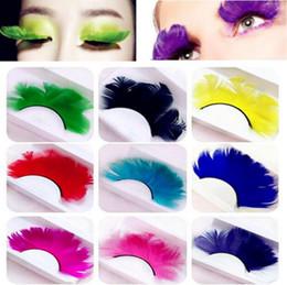 Pestañas emplumadas online-Colores de moda Cosplay Pluma Pestañas postizas Disfraces de fiesta Pestañas postizas Herramientas de maquillaje Extensión de pestañas de plumas