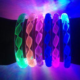 Wholesale Led Light Concert - New Design Flash Light LED Bracelet Acrylic Bangles More Colors Fluorescent Bracelets For Party Bar Concert