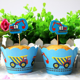 Wholesale Car Wrappers - Wholesale- 12pcs Wrappers 12 pcs Toppers Car Excavator Paper Cupcake Wrappers Toppers for Kids Birthday Party Decoration Cakecup Toppers