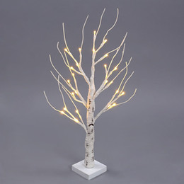 Wholesale Lighted Branches Wholesale - 60CM 24 LEDs Battery Operated Desk Top Silver Birch Twig Tree Light White Branches for Christmas Party Wedding Indoor Outdoor Decoration
