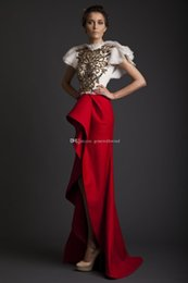 Wholesale One Shoulder Maternity Wedding Gowns - white and red high low wedding dresses 2017 Krikor Jabotian dresses with gold sequin lace beaded wedding guest dresses