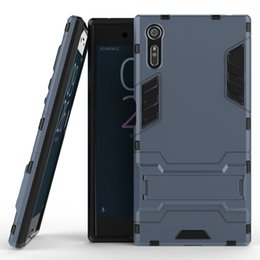 Wholesale E5 Phones - 50pcs Hybrid Armor Phone Back Cover for Sony Xperia XZ X XA X Performance E5 X Compact PC+TPU Anti-knock Case with Stand
