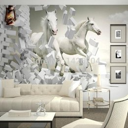 Wholesale Rolling Horse - Wholesale-3D white horse wall murals wallpaper,3d horse custom wall paper murals for living room