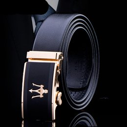 Wholesale New Designer Jeans For Men - New Designer Men Crown Belt Luxury car Automatic fish spear Belts for Jeans Pants Mens Automatic buckle Belts