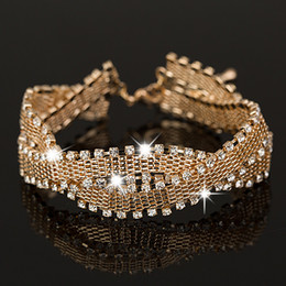 Wholesale Bracelets Super - The girl a gift Wedding Bracelets & Bangles New Arrival full star super shiny rhinestone crystal silver ladies link chains