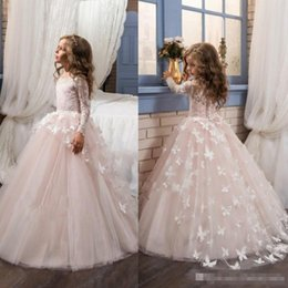 Wholesale Model Little Girls - 2017 Blush Lace Long Sleeves Ball Gown Flower Girls Dresses Full Butterfly Kids Pageant Gowns Little Girl Birthday Party Dresses
