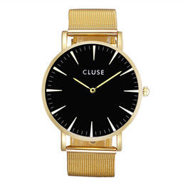 Wholesale Metal Brown Watch - Fashion CLU Brand women men Unisex steel metal band quartz wrist watch