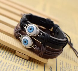 Wholesale Ball Metal Bracelet - Supply Cool New Genuine Leather Bracelet Jewelry Bangle Cuff Pewter Metal Turkey Eye Ball Bracelets free shipping