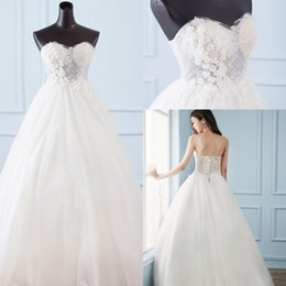 Wholesale Glamorous Empire Sweetheart Dress - 2017 New Glamorous Lace Wedding Dresses Arabic Sweetheart A-Line Beads Sequins Bridal Gown Backless Lace Up Plus Size Wedding Gown Free Veil