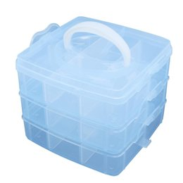Wholesale Empty Aluminum Case - Wholesale- Blue Plastic Empty 3 layer Storage bag Case Box Nail Art Craft Makeup