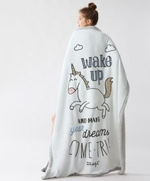 Wholesale White Fleece Blankets Wholesale - Baby blanket Wake Up Kids boy girl blankets Bedding cover newborn swaddle manta baby deken beddengoed fleece horse Unicorn blankets