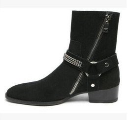 Wholesale Boots Ring - Western cowboy boots European men chelsea boot pointed toe metal ring men leather boots side zip party shoes