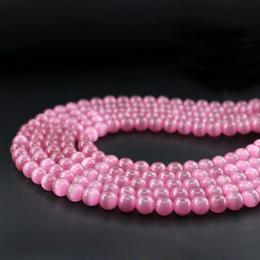 2019 15 rosas cor-de-rosa Top Quality Rose Contas de Vidro Olho de Gato 6/8/10mm Dark Pink Rodada Beads Fibra Óptica 15